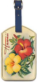 Hawaiian Hibiscus - Vintage Hawaiian Art Leatherette Luggage Tags