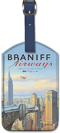 New York - Braniff Airways - Chrysler Building - Leatherette Luggage Tags