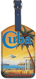 Visit Cuba - Pan American Airways (PAA) - Havana Bay - Morro Cabana - Leatherette Luggage Tags