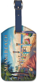 Miami Beach, Florida - Leatherette Luggage Tags