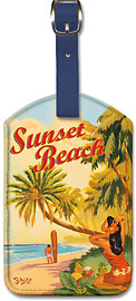 Sunset Beach - Hawaiian Leatherette Luggage Tags