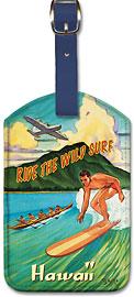 Ride the Wild Surf Hawaii - Hawaiian Leatherette Luggage Tags
