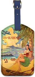 Visit Hawaii - Hawaiian Leatherette Luggage Tags