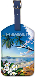 Hawaii - Distant Shores - Hawaiian Leatherette Luggage Tags