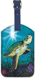 Hawaiian Green Sea Turtle - Hawaiian Leatherette Luggage Tags