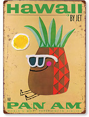 Pan Am Hawaii by Jet, Pineapple Head - Hawaiian Vintage Metal Signs