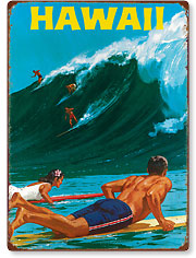 Big Wave Surfing at Waimea - Hawaiian Vintage Metal Signs