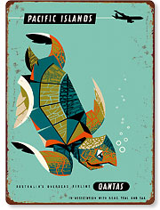 Pacific Islands - Qantas Airways - Green Sea Turtle - Hawaiian Vintage Metal Signs