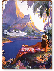 Fly to the South Seas Isles - Hawaiian Vintage Metal Signs