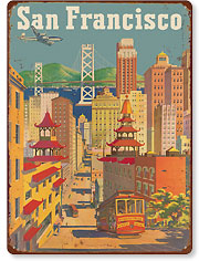 United Airlines San Francisco City View - Vintage Metal Signs