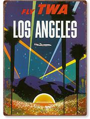 Fly TWA Los Angeles, Hollywood Bowl - Vintage Metal Signs
