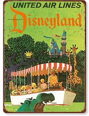 United Airlines Disneyland, Anaheim, California - Vintage Metal Signs