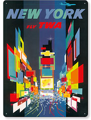 Fly TWA New York - Times Square - Vintage Metal Signs