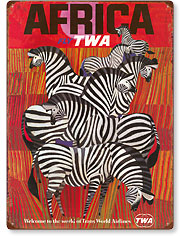 Fly TWA Africa - Zebras - Vintage Metal Signs
