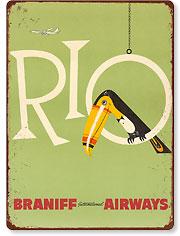 Braniff Air Rio - Vintage Metal Signs