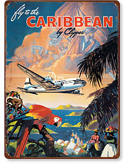 Pan American - Fly to the Caribbean by Clipper - Vintage Metal Signs