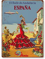 España (Spain) -  El Baile de Andalucia (The Dance of Andalucia) - Iberia Air Lines - Flamenco Dancers - Vintage Metal Signs