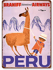 Peru - Braniff International Airways - Native Boy with Llama - Vintage Metal Signs