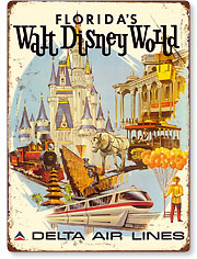 Florida's Walt Disney World - First Year of Operation - Delta Air Lines - Vintage Metal Signs