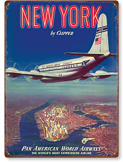 New York USA by Clipper Pan American Airways - Boeing 377 - Vintage Metal Signs