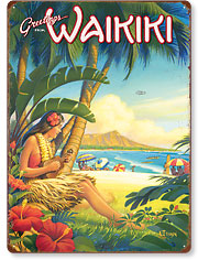Greetings from Waikiki - Hawaiian Vintage Metal Signs