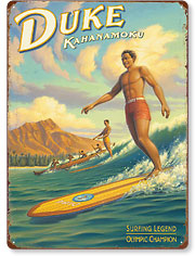 Duke Kahanamoku - Hawaiian Vintage Metal Signs