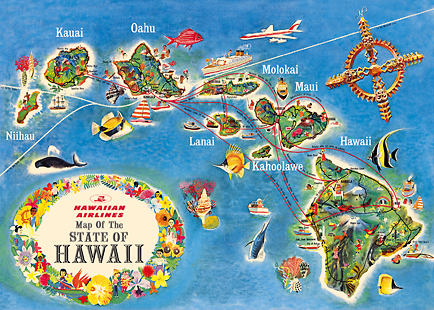 Hawaii Mag  Hawaiian Airlines State Map   Vintage Travel