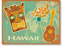 Vintage Tiki & Ukulele - Hawaiian 'Alohi Magnet - Glitter Embellished