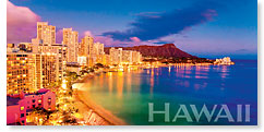 Waikiki Pink - Hawaii Panoramic Magnet