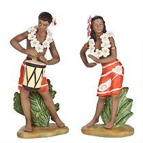 Graceful Dancer & Drummer Boy - Hawaiian Porcelain Figurines
