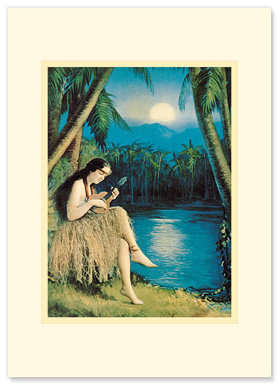 Hula Moon - Personalized Vintage Collectible Greeting Card