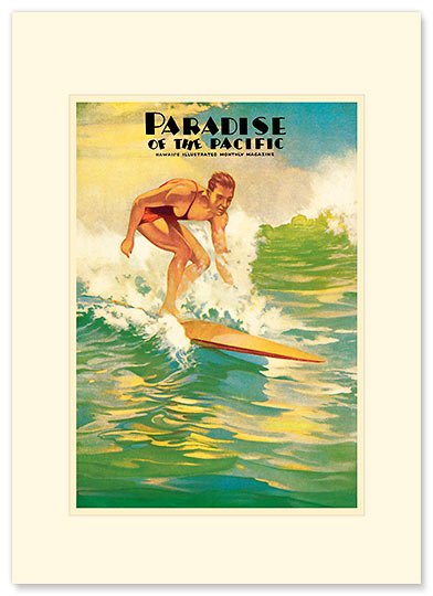 Paradise of the Pacific / Surfer - Personalized Vintage Collectible Greeting Card