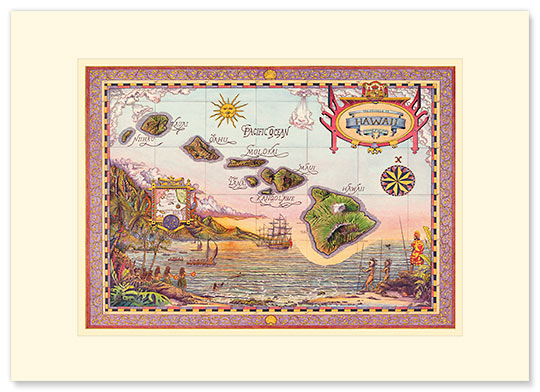 The Map of Old Hawaii - Personalized Vintage Collectible Greeting Card