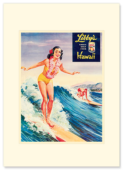 Libby's Surfer girl - Personalized Vintage Collectible Greeting Card