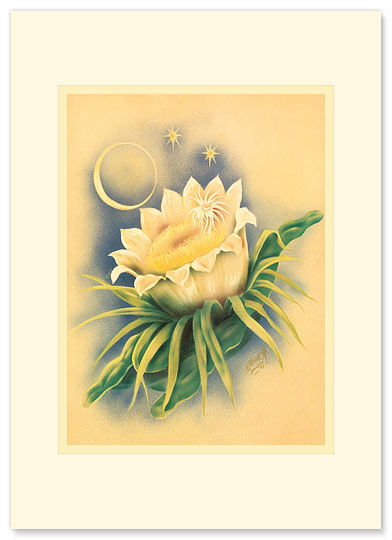 Night Blooming Cereus - Personalized Vintage Collectible Greeting Card