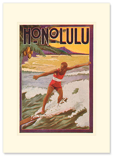 Surfing Honolulu - Personalized Vintage Collectible Greeting Card