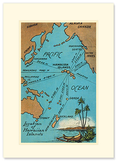 Hawaiian Islands Map - Personalized Vintage Collectible Greeting Card