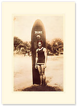 Duke Kahanamoku - Hawaiian Premium Vintage Collectible Blank Greeting Card