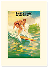 Paradise of the Pacific / Surfer - Hawaiian Premium Vintage Collectible Blank Greeting Card