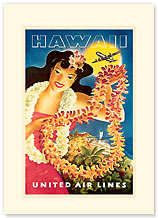 United Air Lei Poster - Hawaiian Premium Vintage Collectible Blank Greeting Card
