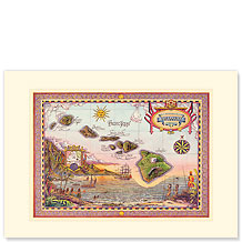Map of Old Hawaii - Hawaiian Premium Vintage Collectible Blank Greeting Card