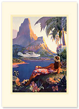 Fly to South Seas - Hawaiian Premium Vintage Collectible Blank Greeting Card