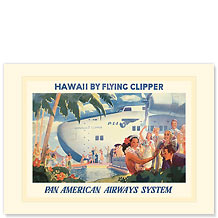 Pan American Flying Clipper - Hawaiian Premium Vintage Collectible Blank Greeting Card
