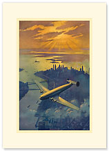 Dawn of a New Age - New York - Premium Vintage Collectible Blank Greeting Card