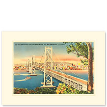 San Francisco Oakland Bay Bridge - Premium Vintage Collectible Blank Greeting Card