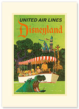 United Airlines Disneyland, Anaheim, California - Premium Vintage Collectible Blank Greeting Card