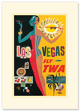 Fly TWA Las Vegas - Night & Day - Premium Vintage Collectible Blank Greeting Card