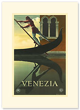 Venezia, Gondolier in Renaissance, Venice, Italy - Premium Vintage Collectible Blank Greeting Card