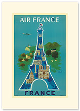 Aviation, Eiffel Tower - Premium Vintage Collectible Blank Greeting Card