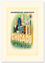 American Airlines, Chicago Skyscrapers - Premium Vintage Collectible Blank Greeting Card